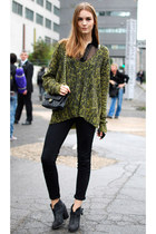 olive green Mango sweater - black Zara boots - black Pimkie bag