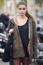 dark khaki Zara coat - black Bershka bag - black Zara shorts