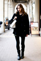 black Zara boots - black Koton coat - eggshell Mango bag