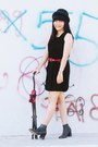 Black-boots-black-dress-black-hat-red-belt-black-watch