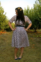 blue vintage dress - blue Urban Outfitters shoes - beige Etsy accessories