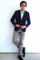 blue Cole Haan shoes - navy H&M blazer - aquamarine American Apparel tie
