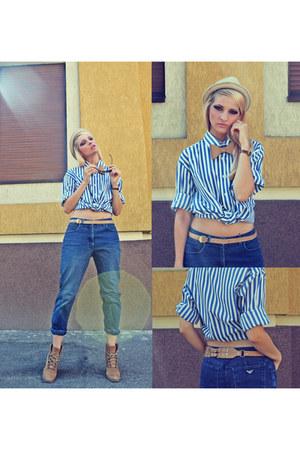 Zara boots - vintage Armani Jeans jeans - vintage sir john shirt - Zara belt