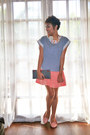 Dark-gray-bag-light-orange-topshop-skirt-light-pink-sole-sister-flats