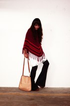 Forever 21 jeans - leather Max & Co bag - tube tunic Topshop top - poncho cape -