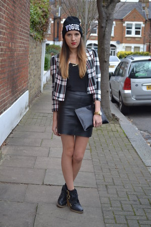 leather warehouse skirt - Choies hat - Boohoo jacket