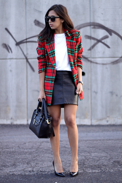 red tartan thrifted vintage blazer - black PERSUNMALL bag - black LOB skirt
