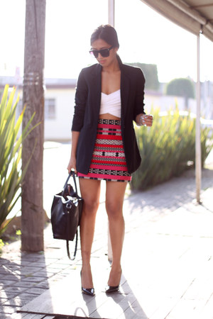 hot pink Zara skirt - black Bershka blazer - black Zara pumps - white old top