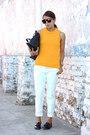 Orange-knit-zara-sweater-black-zara-bag-white-zara-pants