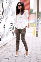 ivory lace chicnova blouse - army green Zara pants - ivory c&a heels