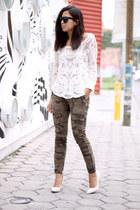 ivory lace chicnova blouse - army green Zara pants - ivory c&a heels