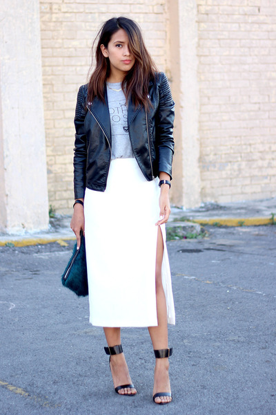 white side split asos skirt - black biker H&M jacket - teal clutch Zara bag