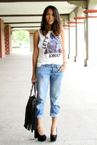 black Romwecom bag - blue Aeropostale jeans - black Local shop pumps