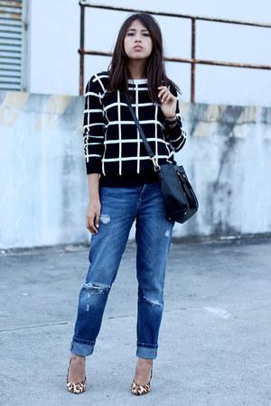 black PERSUNMALL bag - navy boyfriend jeans Zara jeans
