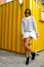 Black-zara-boots-silver-bershka-sweater-oysho-shorts-white-zara-blouse