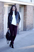 black Zara boots - crimson pull&bear jeans - black motorcycle H&M jacket
