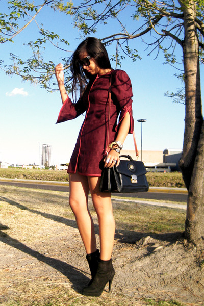black Zara boots - brick red vintage dress