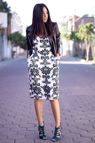 white black and white Lulus dress - black H&M jacket - teal Forever 21 heels