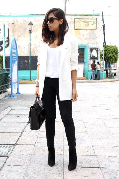 black Zara boots - white pull&bear blazer - black Zara pants