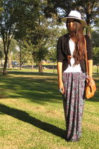 DIY skirt - white no brand hat - white Zara shirt - black vintage cardigan - bei