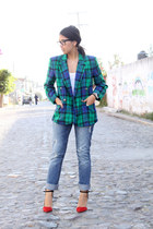 green plaided thrifted blazer - red Zara heels