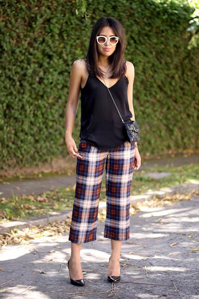 brick red silk tartan Zara pants - black Zara top - black Zara heels