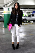black Zara boots - black Zara blazer - hot pink Zara purse - white Levis pants