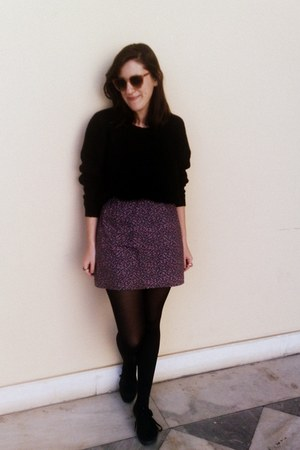 purple handmade floral skirt - black shoes - black woollen jumper