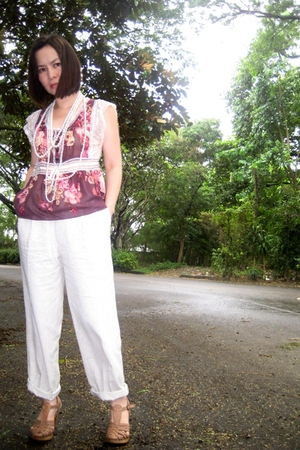 vintage blouse - vintage pants - random accessories - Marie Claire shoes - Marc