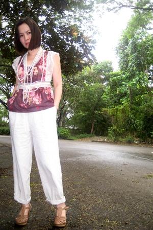 vintage blouse - vintage pants - random accessories - Marie Claire shoes - Marc