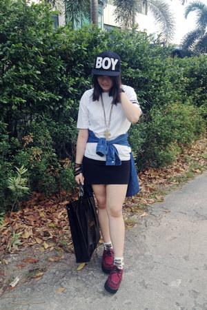 diy anchor DIY top - creepers -- shoes - snapback Boy hat - new look socks