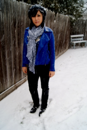 blue Silence   Noise jacket - white H&M scarf - black Michael Kors boots - blue