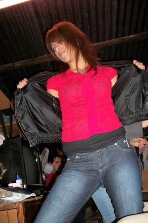 black jacket - jeans