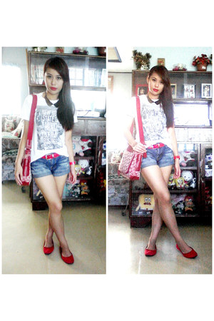 red bag - blue shorts - red flats - white top - red belt