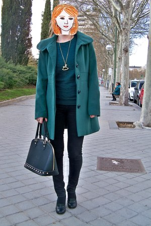 black Vogue & LV shoes - green Stradivarius coat - green Bershka sweater