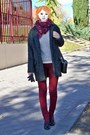 Gray-suiteblanco-coat-off-white-bershka-sweater-brick-red-primark-scarf