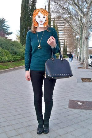 black Vogue & LV shoes - black Lefties jeans - green Bershka sweater