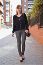 Black-bershka-jacket-gold-stradivarius-bracelet-charcoal-gray-h-m-pants