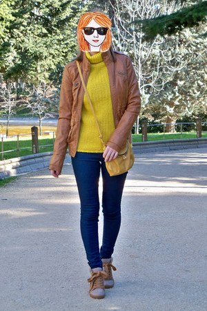 brown Stradivarius jacket - navy Lefties jeans - mustard Pull & Bear sweater