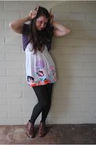 purple catherine malandrino vest - white momma dress - gray Gap tights - brown s