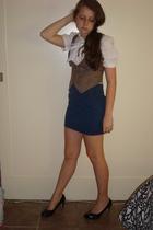 American Eagle blouse - H&M vest - American Apparel skirt - H&M shoes