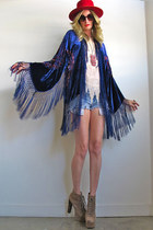 navy velvet fringe Girl On A Vine jacket