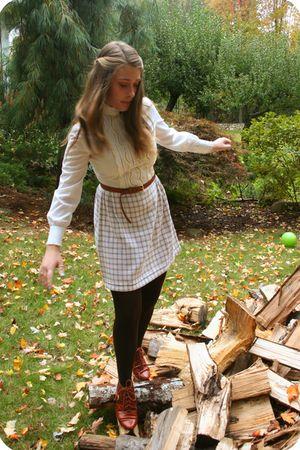 white vintage dress - beige H&M belt - brown Lord & Taylor tights - brown Jeffre