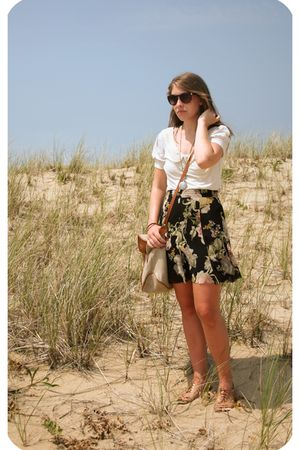 white Urban Outfitters blouse - black Urban Outfitters skirt - beige Urban Outfi