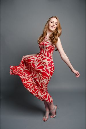red printed Sway dress