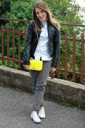 yellow quilted unknown bag - black leather jacket ovs jacket