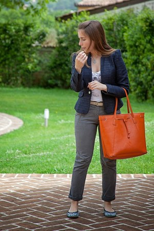 carrot orange ovs bag - navy textured H&M blazer