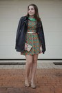 Green-lou-lou-dress-navy-trench-patrizia-pepe-coat-tan-bow-stradivarius-bag
