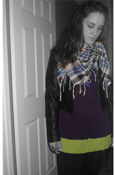 unknown brand jacket - Hello Brian shirt - Thrift Shop scarf