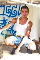 white H&M t-shirt - blue BLANCO jeans - gold vintage scarf - brown Zara shoes